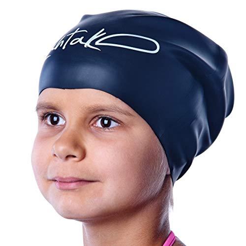 Badekappe Kinder Lange Haare - Badekappe für Mädchen Jungen Kids Teens mit langem lockigem Haar Zöpfe Dreadlocks - 100% Silikon hypoallergene Wasserdichte Badehaube (Schwarze S)