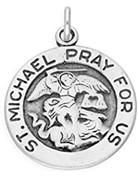 TheCharmWorks Sterling-Silber ' St Michael Pray For Us ' Charmanhänger | Sterling Silver Charm