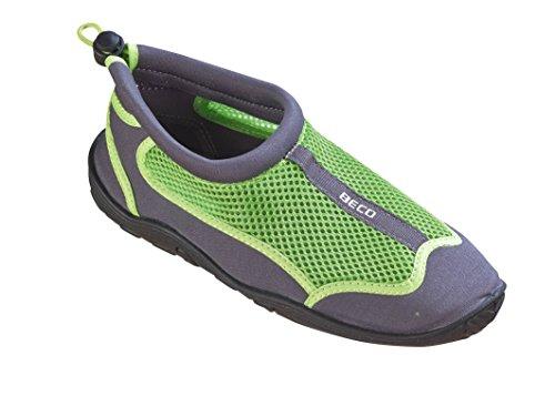 BECO Badeschuhe Surfschuhe Wattschuhe Strandschuhe Aqua Schuhe für Damen und Herren *Neue Kollektion (grau/grün, 41)