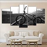 syssyj Kein Rahmen Leinwand Modular Malerei Dekoration 5 Panel Fahrrad Lane Schwarz Und Weiß Moderne Wandkunst Bild Günstige Rahmen Poster