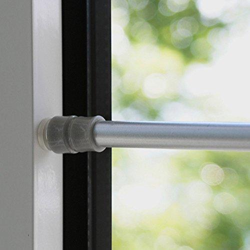 Klemmfix Klemmstange für Fenster Tür Gardine Länge 80-120 cm ausziehbar Scheibenstange ohne Kleben - silber - chrom matt
