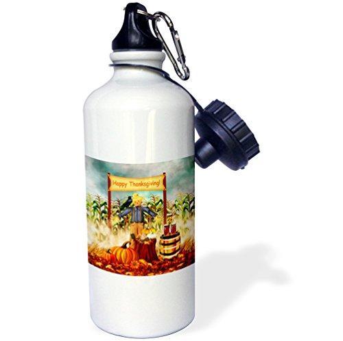 "3dRose wb_220606_1 ""Digital Art Thanksgiving Scarecrow along with Fall harvest veggies"" Sports Water Bottle, 21 oz, White"