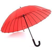 KHSKX Ombrelloni da manuale 24, acqua fiore solido gancio ombrello creativo color caramella femminile letteraria pulito lungo ombrello , red