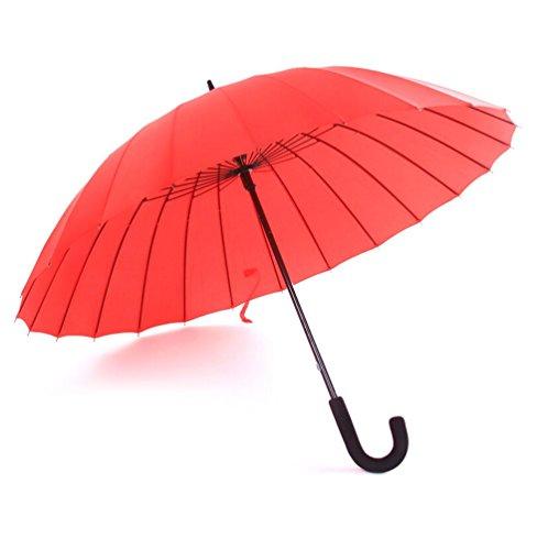BBSLT Ombrelloni da manuale 24, acqua fiore solido gancio ombrello creativo color caramella femminile letteraria pulito lungo ombrello , red