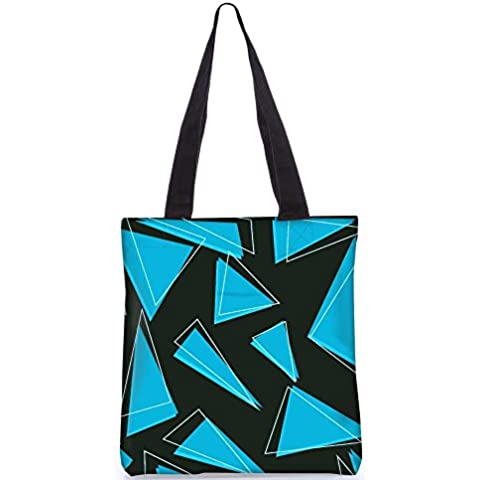 Snoogg Azul Piezas De Triángulo Bolsa De Asas De 13,5 X 15 En La Bolsa De Asas De Utilidad Comercial, Fabricado En Poliéster