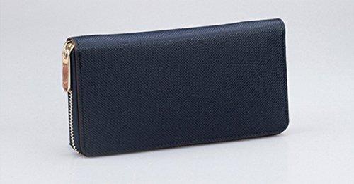 Lunga, da uomo pelle bovina Borsa a Portafoglio Frizione Borsa Portafoglio Cards denaro blu BLUE Länge: 19,5cm, Breite: 10cm, Dicke�?,5cm BLUE