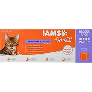IAMS Delights Wet Food Land for Adult Cats with Meat and Fish in Jelly, 48 x 85g 16