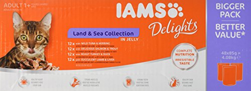 IAMS Delights Wet Food Land for Adult Cats with Meat and Fish in Jelly, 48 x 85g 1