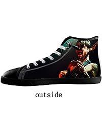 KJLJ-MENS Men's rock band style White High Top Canvas Shoes rock band style Canvas Shoes for Men
