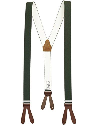 Xeira  Hochwertige Hosenträger reg; in Uni & Neon Farben mit Lederriemen - Verfügbar in XXXL 150cm Länge - Made in Germany (Normale Länge, Dunkel Grün/Braun)