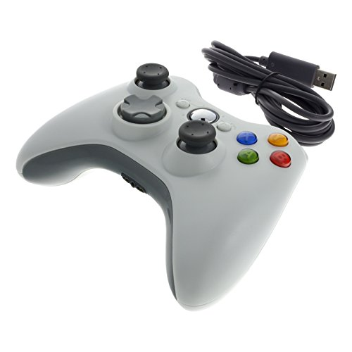 Smartfox USB Kabel Controller Gamepad Joypad Joystick für Microsoft Xbox 360 Konsole und Windows PC in weiß