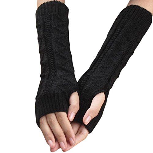 Oyedens Guantes otoño invierno guantes calientes del teclado del dedo lindo de fugas de punto, 32cmX8cm (Negro)