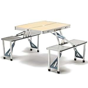 Skandika 16205 Ensemble de pique-nique pliant Table et 4 assises optique bois 4 places