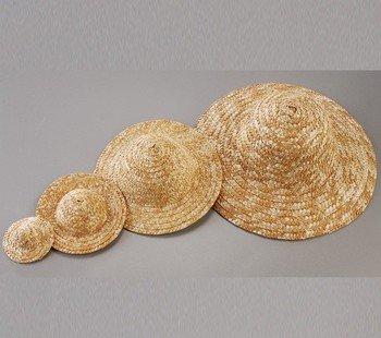 Chapeau décoratif en paille, diamètre extérieur 11,5 cm, naturel clair