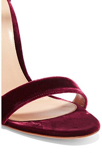 O Calcanhar No De Ubeauty Senhoras Bracelete Sandálias Tira De Com Camurça De Estilete Milímetros Tornozelo Aberto Tornozelo 120 Roxo Dedo AAw1HxZq