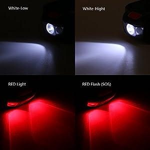 Sunix®Linterna Frontal LED, luz de cabeza con Banda y Ángulos Ajustables Perfecta para Correr, Pasear al Perro, Pesca, Ciclismo, Campamento, Observar la Naturaleza - 4 Modos Luces con 3 LED CREE R3 + 2 LED color rojo, Resistente al Agua IPX-6, 3 baterías AAA (No incluidas)