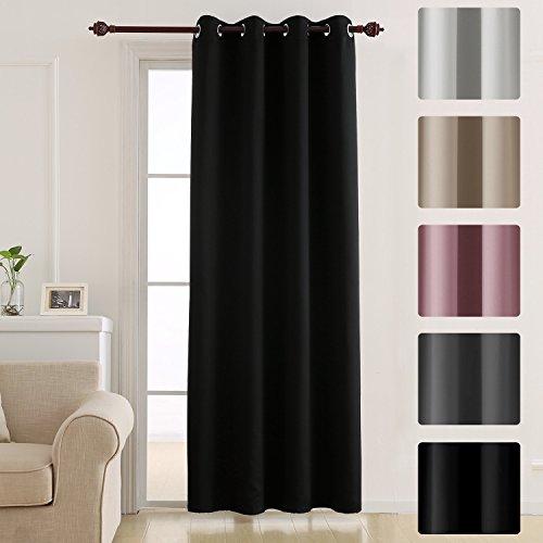 Deconovo tenda oscurante termica isolante con occhielli 100% poliestere nero 140x240 cm un pannello