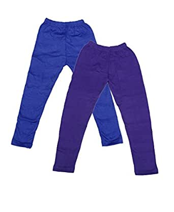 Indistar Girls Combo Pack(Pack of 2 Full Ankle Length Wollen Warm Leggings and 2 3/4 Leggings /Capri)_Blue::Purple::Green::Beige_6-7 Year