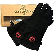 Premium 100% Leather Gloves Lined Welders Gauntlets Logs Black Fireplaces Gloves Heat Resistant & Flame Retardant - Perfect for Stove Woodburners Fireplaces, Soft and Supple Lined Leather- Pot Holders and Oven BBQ Gloves Welding - 1 Pair in Gift Box