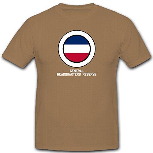 General Headquarters Reserve Us Armee Streitkräfte Flag Fahne Flagge Abzeichen Emblem Wappen France - T Shirt #3067, Farbe:Sand, Größe:Herren XXL -