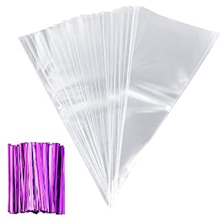 Anpro 100 pcs Clear Cone Bags with Purple Twist Ties for Party and Sweets