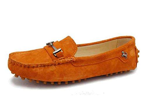 Minitoo yb960–15da donna comoda Slip-on scarpe in pelle scamosciata Mocassino Loafer Orange
