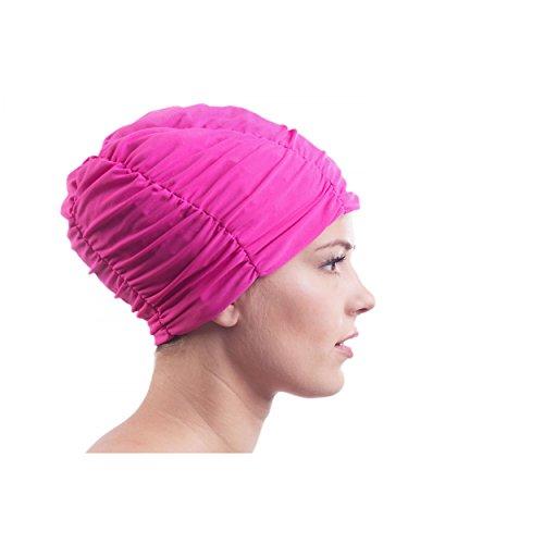 Damen Stoffbadehaube mit Folieninnenhaube Badehaube Stoffbadekappe Stoff Bademütze Turban Style, Farbe: Rosa, Größe: Einheitsgröße