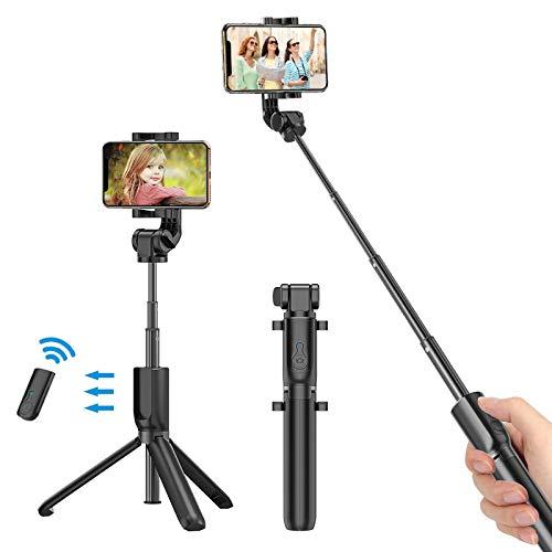 Bovon Selfie Stick Stativ mit Bluetooth-Fernauslöser Selfie-Stangen Ausfahrbar 360° Rotation, Selfiestick für iPhone XS Max/XR/X/8/7/6s Plus, Samsung Galaxy S10 Plus/S10e/S10/S9/S8 Plus (Schwarz)