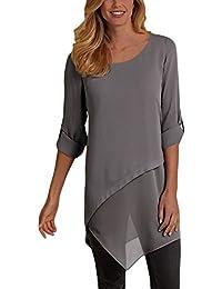 donna e camicia it Amazon Bluse elegante Grigio camicie T wCzgqU
