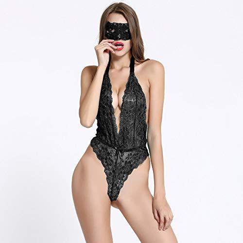 Zorux - Exotic Apparel Sexy Dessous Frauen Aushöhlte Spitze Maske + Teddy-Sets Cosplay Sets Kleidung Sexy Kostüme Unterwäsche Sex-Pyjama Schwarz