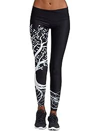 Mallas Deportivas Mujer Leggins Pantalones de correr Gym chandal Polainas Leggings Deporte para Running Fitness Yoga Pantalones Largos push up mujeres ❤️ Amlaiworld (Negro, M)