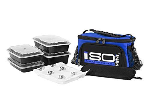 Isolator Fitness IsoMini Mahlzeiten Management-System - Blau/Schwarz - Isolierte Mahlzeiten-Kühltasche (Isobag 6 Meal-system)