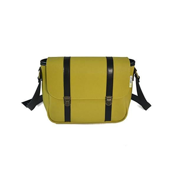 Handbag with strap; green leather; eco-friendly - handmade-bags