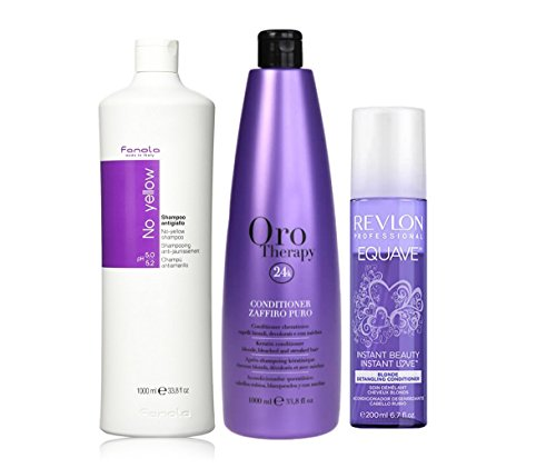 FANOLA champu non Yellow 1000 ml + Fanola orotherapy zaffiro puro Conditioner Capelli rubios, blanqueados o con Stoppini 1000 ml + Revlon Equave acondiconador Blonde capelli rubios 200 ml