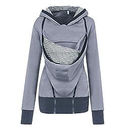 Solike Tragejacke für Mama und Baby Winter Umstandsjacke mit Kapuze Tragepullover Warm Damen Langarm Kängurujacke