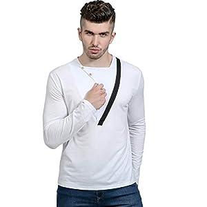 JUSTSELL Langarmshirts Pullover Herren Herbst Winter, Männer Modernes Einfarbig T Shirt Asymmetrischer Knopfleiste Bluse Slim Hüftslip Pullover Tops