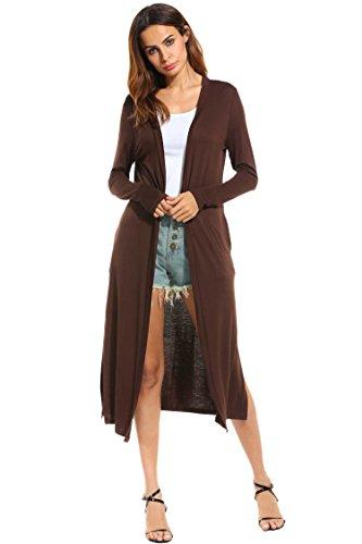Meaneor Damen Strickjacke Casual Cardigan Jacke Asymmetrisch Offener V-Ausschnitt Longshirt Mit Chiffonabschlüssen Oberteil Übergröße Dunkelbraun