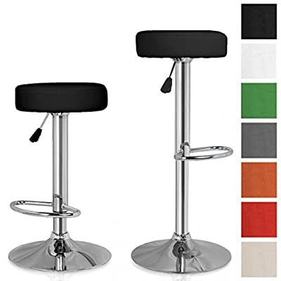 Set Classic of 2 Bar Stools Seats Swivel chairs, Height Freely Adjustable, Different Colours