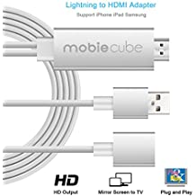 MobieCube Lightning TO Adaptador HDMI [Plug and Play para Iphone y Samsung, sin necesidad Hotpots / Configuración]