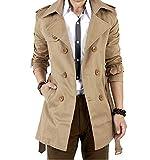 Herren Trenchcoat Lange Double Breasted Slim Fit Mantel Jacke Militärische mit Gürtel Khaki XL