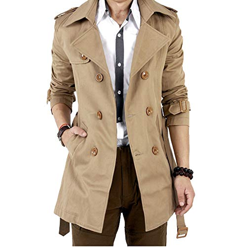 Runyue Herren Trenchcoat Lange Double Breasted Slim Fit Mantel Jacke Militärische mit Gürtel Khaki XL -
