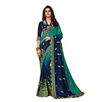 MANOHARI Women's Blue Chiffon Embroidered Saree with Blouse