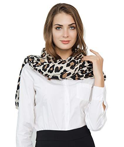 Superora Bufanda Para Mujer Pañuelo Estampado de leopardo Invierno Chal Foulard Grante Manta Larga Elegante y Moda Larga Grante Corta Suave Ultraligero Beige