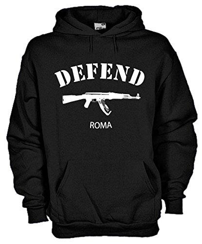 Settantallora - Felpa Con Cappuccio KJ363 Defend Roma Taglia L