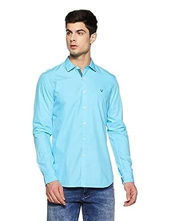 Allen Solly Men's Plain Slim Fit Casual Shirt (ASSFWMOFT40543_Aqua Blue_38)