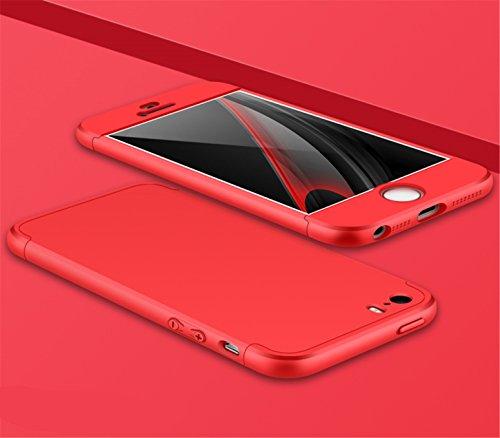 """Coque Apple iPhone 5,Ultra Rigide Léger 360 Degrés Hybrid 3 en 1 Récurer Protector Etui Housse Coque pour iPhone SE/5S/5 (4.0""""),Noir+Rouge rouge"""