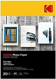 ورق لامع ايه 4 لطباعة الصور من كوداك، وزن 180 غرام لكل متر مربع، 225 ميكرون (عبوة مكونة من 20 ورقة)