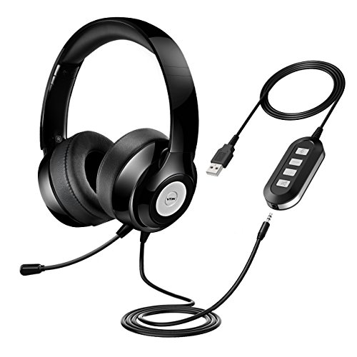 VTIN Chat Headset, 3,5 mm USB Headset PC Headset Computer Headset Telefon Headphone Stereo Sound Audio Kopfhörer mit Mic, Freisprecheinrichtung und Rauschunterdrückung für Skype, PC, Handy ( Rauschunterdrückung-Soundkarte & Online-Kontrolle) Schnurloses Headset Mic
