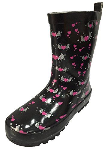A.O.R. Youth Girls Black Rain Boot Snow Boot with Pink Heart and Angel Wings Design