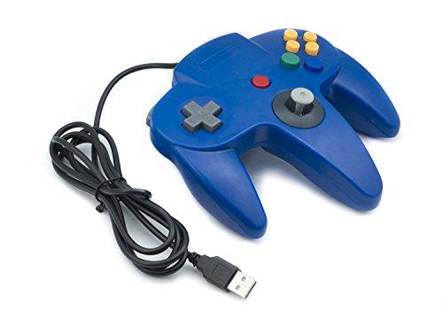 QUMOX Nintendo Mando de Juego Clásico N64 para USB A PC/MAC, Azul